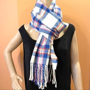 Tartan plaid scarf in pink and blue
